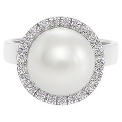 South Sea Round White Pearl And Round Diamond Engagement Ring in 18K White Gold