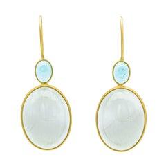 18 Carat Yellow Gold Aquamarine and Quartz Earring