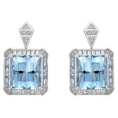 Art Deco Style Aquamarine and Diamond Earring in 18 Karat White Gold