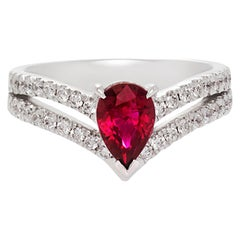 Natural Pear Shape Pigeon Blood Ruby and Diamond Engagement Ring 18K White Gold