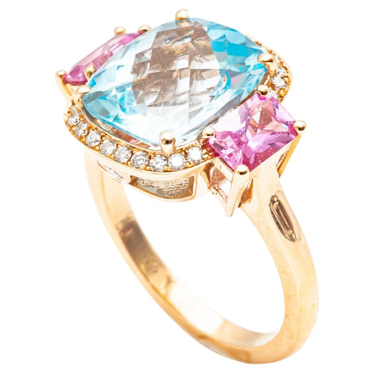 18 Carat Yellow Gold Topaz, Pink Sapphire and Diamond Ring For Sale