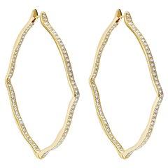 18 Karat Yellow Gold and White Diamonds Jumbo Hoop Earrings
