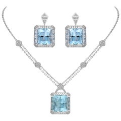 Art Deco Style Aquamarine and Diamond Earring & Necklace in 18 Karat White Gold