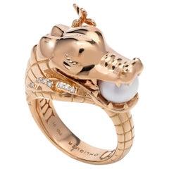 Crocodile Ring with Australian Akoya Pearl in 18ct Rose Gold