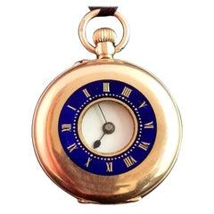 Antique 9 Karat Yellow Gold Half Hunter Pocket Watch, Blue Enamel, 1910s