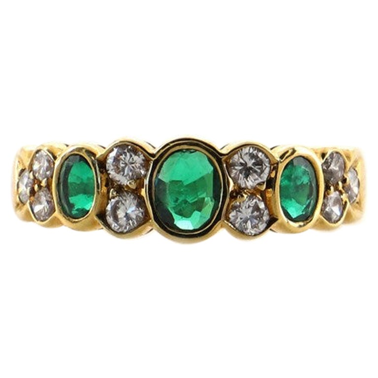 Van Cleef & Arpels Vintage Band Ring 18K Yellow Gold with Emeralds and Diamonds