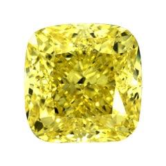 GIA Certified 3 Carat Cushion Fancy Yellow Diamond