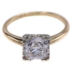 Art Deco Antique Cushion Diamond Platinum Gold Engagement Ring