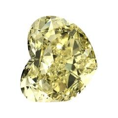GIA Certified 4.18 Carat Heart Fancy Yellow Diamond