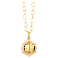 Syna Yellow Gold Cosmic Ball Pendant with Champagne Diamonds