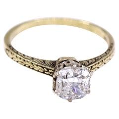 Art Deco 1.10 Carat Cushion GIA Certified Diamond Gold Ring