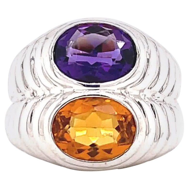 Vintage Bvlgari Amethyst Topaz 18 Karat White Gold Ring