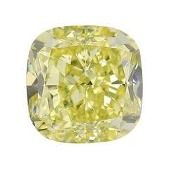 GIA Certified 3.44 Carat Cushion Yellow Diamond