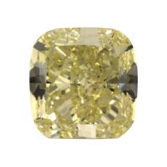GIA Certified 3.19 Carat Cushion Yellow Diamond