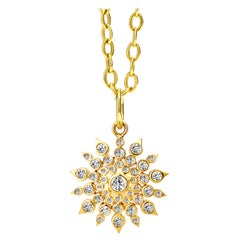 Syna Yellow Gold Cosmic Starburst Pendant with Champagne Diamonds