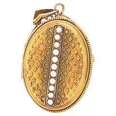 Antique Pearl 18K Gold Locket