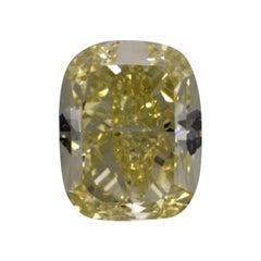 GIA Certified 3.05 Carat Cushion Yellow Diamond