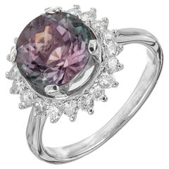 3.20 Carat Tourmaline Diamond Halo Platinum Engagement Ring