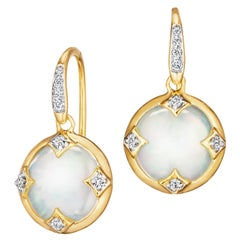 Syna Yellow Gold Mother of Pearl Chakra Earrings with Champagne Diamonds