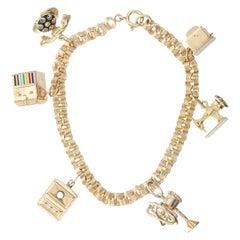 Yellow Gold Household Theme Charm Link Bracelet