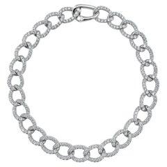 14 Karat White Gold 2.85 Carat Diamond Link Bracelet