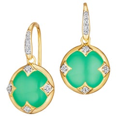 Syna Yellow Gold Chrysoprase Chakra Earrings with Champagne Diamonds