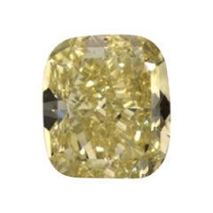 GIA Certified 3.03 Carat Cushion Yellow Diamond