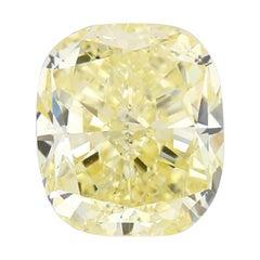 GIA Certified 3.35 Carat Cushion Yellow Diamond
