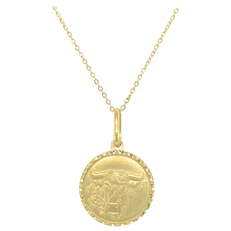 14k Yellow Gold Zodiac Pendant Necklace, Taurus