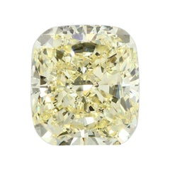 GIA Certified 5.05 Carat Cushion Yellow Diamond