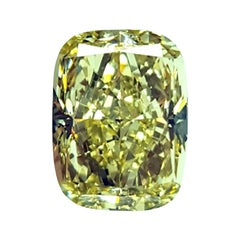 GIA Certified 3.63 Carat Cushion Yellow Diamond