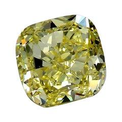 GIA Certified 3.04 Carat Cushion Brilliant Yellow Diamond