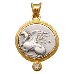 Ancient Greek 4th Century BC Griffin Coin 18K Diamond Pendant