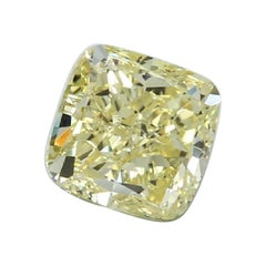GIA Certified 3.22 Carat Cushion Yellow Diamond