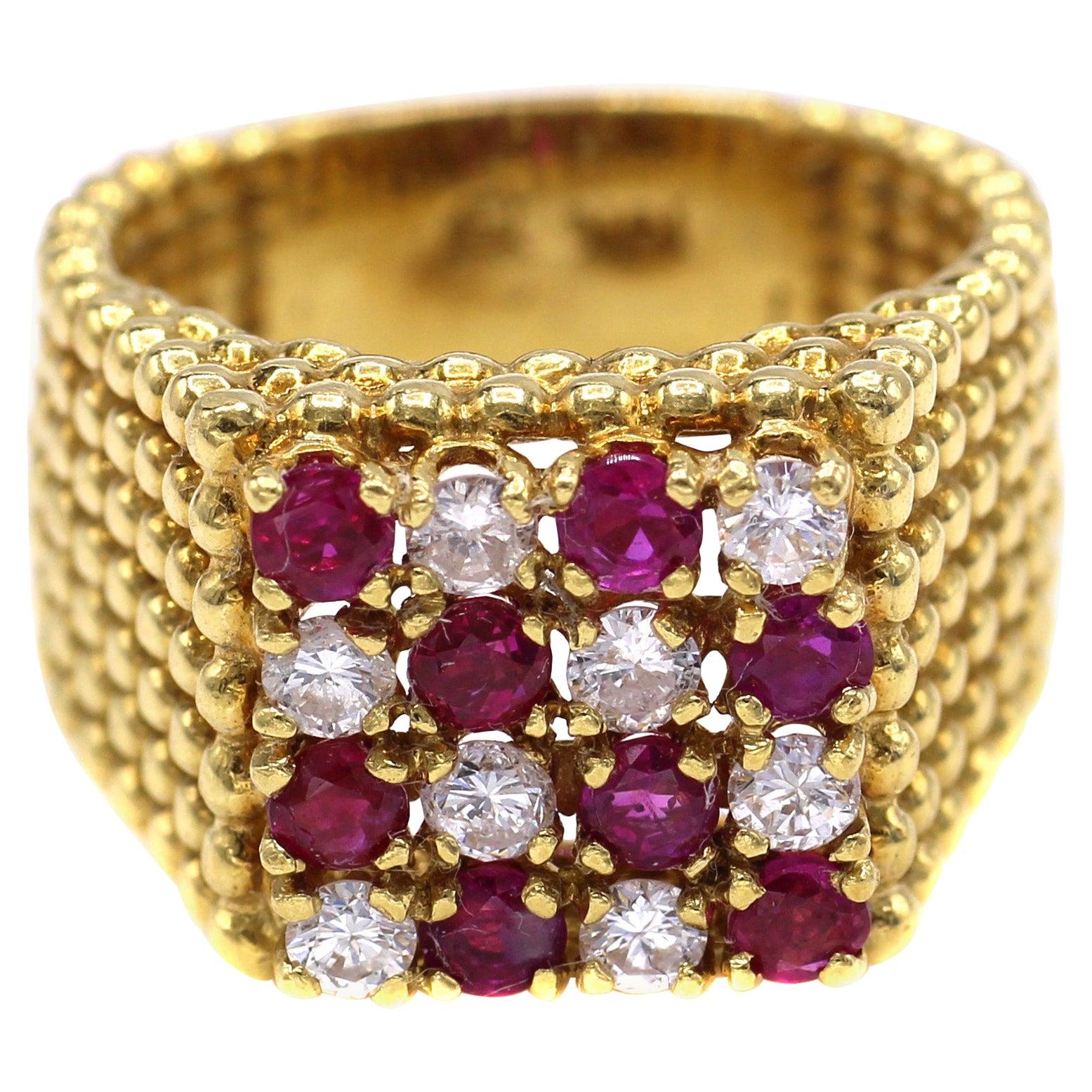 1980s Diamond Ruby Checker Board 18 Karat Gold Cocktail Ring