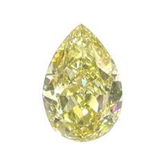 GIA Certified 4.46 Carat Pear Fancy Yellow Diamond