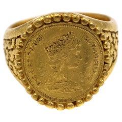 Queen Elizabeth II 24 Karat Gold Coin Ring