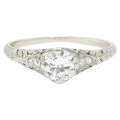 Edwardian 0.70 Carat Diamond Platinum Foliate Engagement Ring