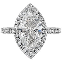 GIA Certified 2.52 Carat Marquise Cut Diamond Halo Engagement Ring