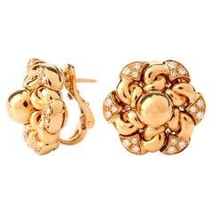 1990s Bvlgari Floral Diamond Clip-Back Yellow Gold Bulgari Earrings
