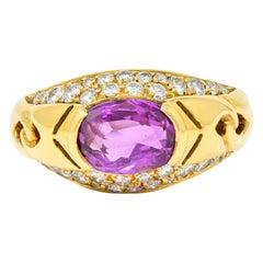 1990's Bulgari 3.15 Carats No Heat Sapphire Diamond 18 Karat Gold Gancio Ring