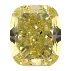 GIA Certified 3.31 Carat Cushion Yellow Diamond
