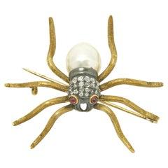 Diamond Spider Brooch Antique Victorian Pin Giant South Sea Pearl Tarantula 18KT