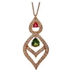 Peridot, Pink Tourmaline and Diamond Lantern Style Necklace