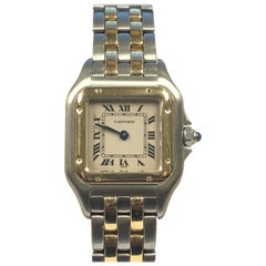 """Cartier Panther Steel & Gold """"2 stripe"""" Ladies Quartz Wrist Watch"""