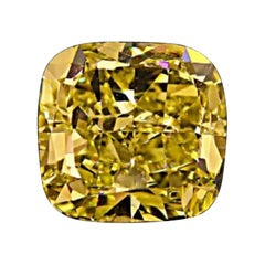 GIA Certified 3.16 Carat Cushion Yellow Diamond