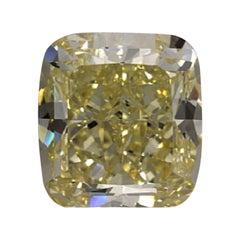 GIA Certified 3.7 Carat Cushion Fancy Yellow Diamond