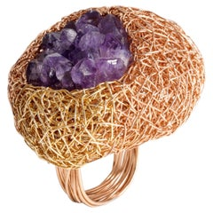 Artist Statement Multicolour Stone Ring 14k Gold F Amethyst Woven Cocktail Jewel