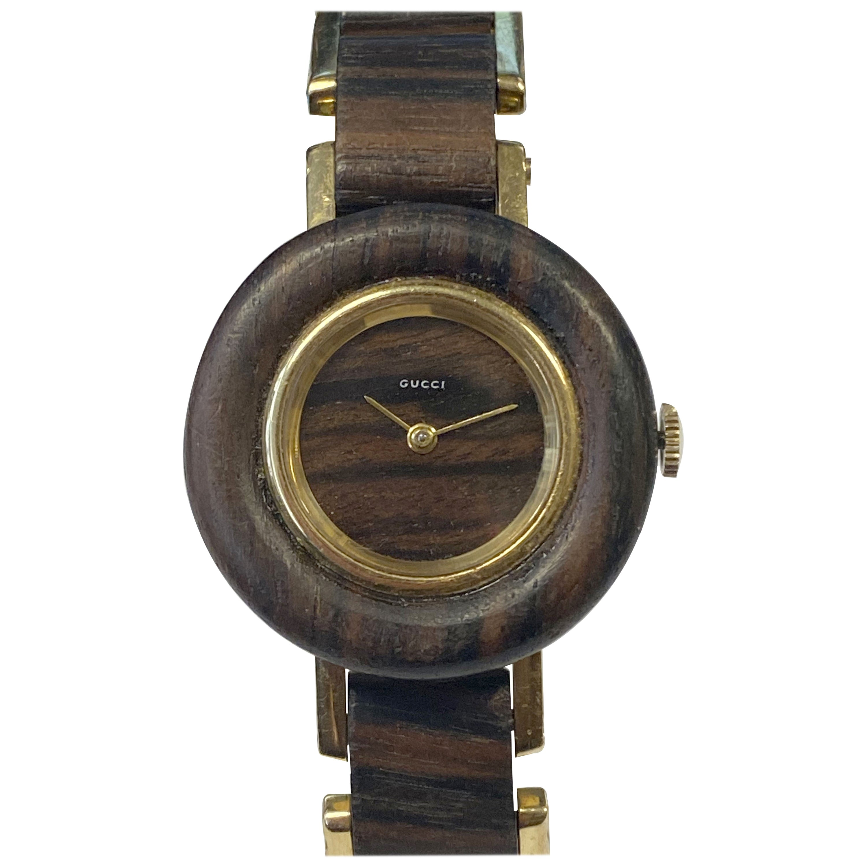 Gucci 1970s Yellow Gold and Wood Mechanical Wrist Watch