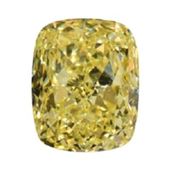 GIA Certified 3.51 Carat Cushion Yellow Diamond